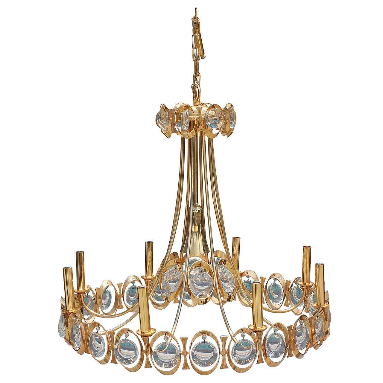 Stunning gilt brass hollywood regency chandelier by palwa at 1stdibs stunning gilt brass hollywood regency chandelier by palwa 1 mozeypictures Gallery