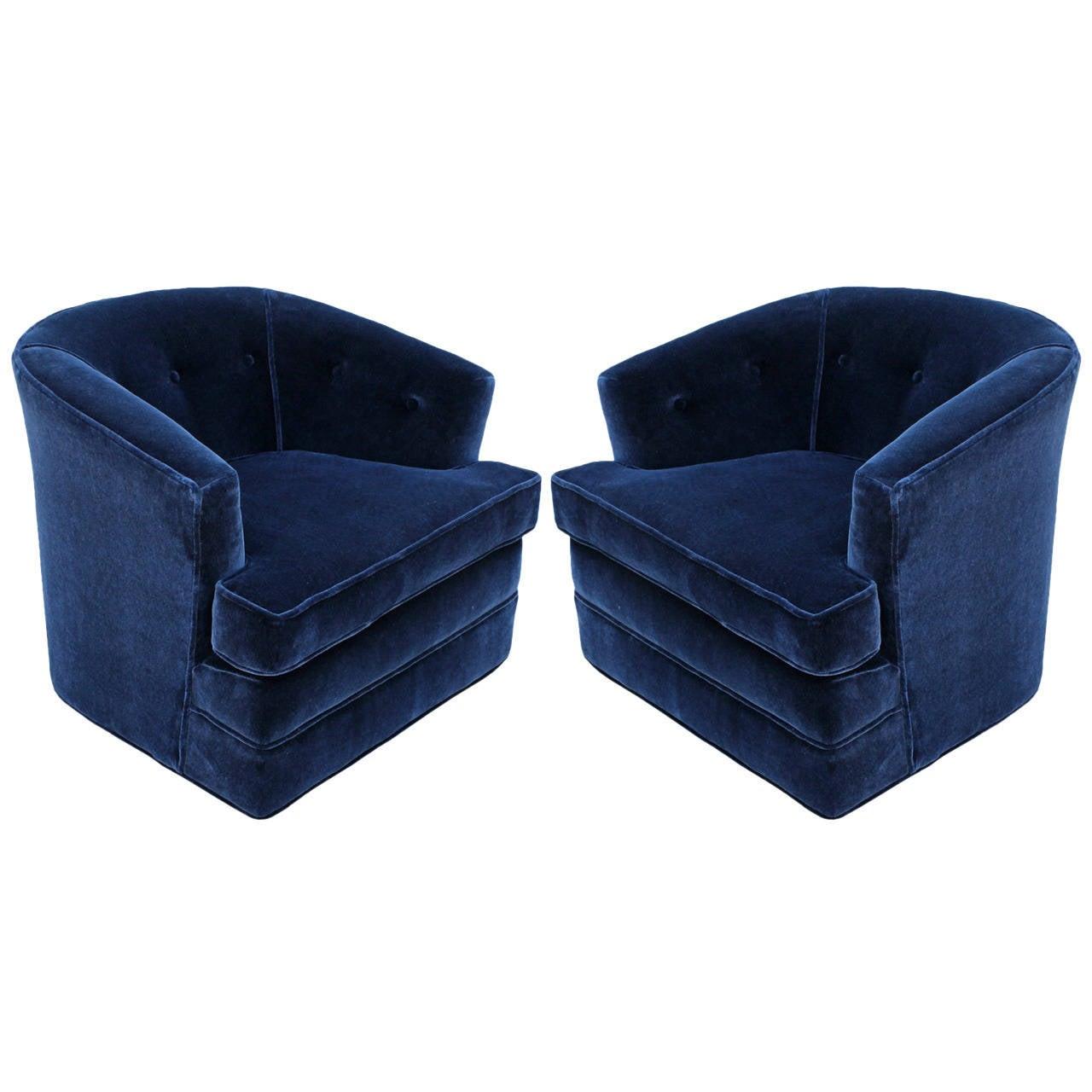 Grand Pair Of Plush Blue Mohair Velvet Swivel Chairs At 1stdibs