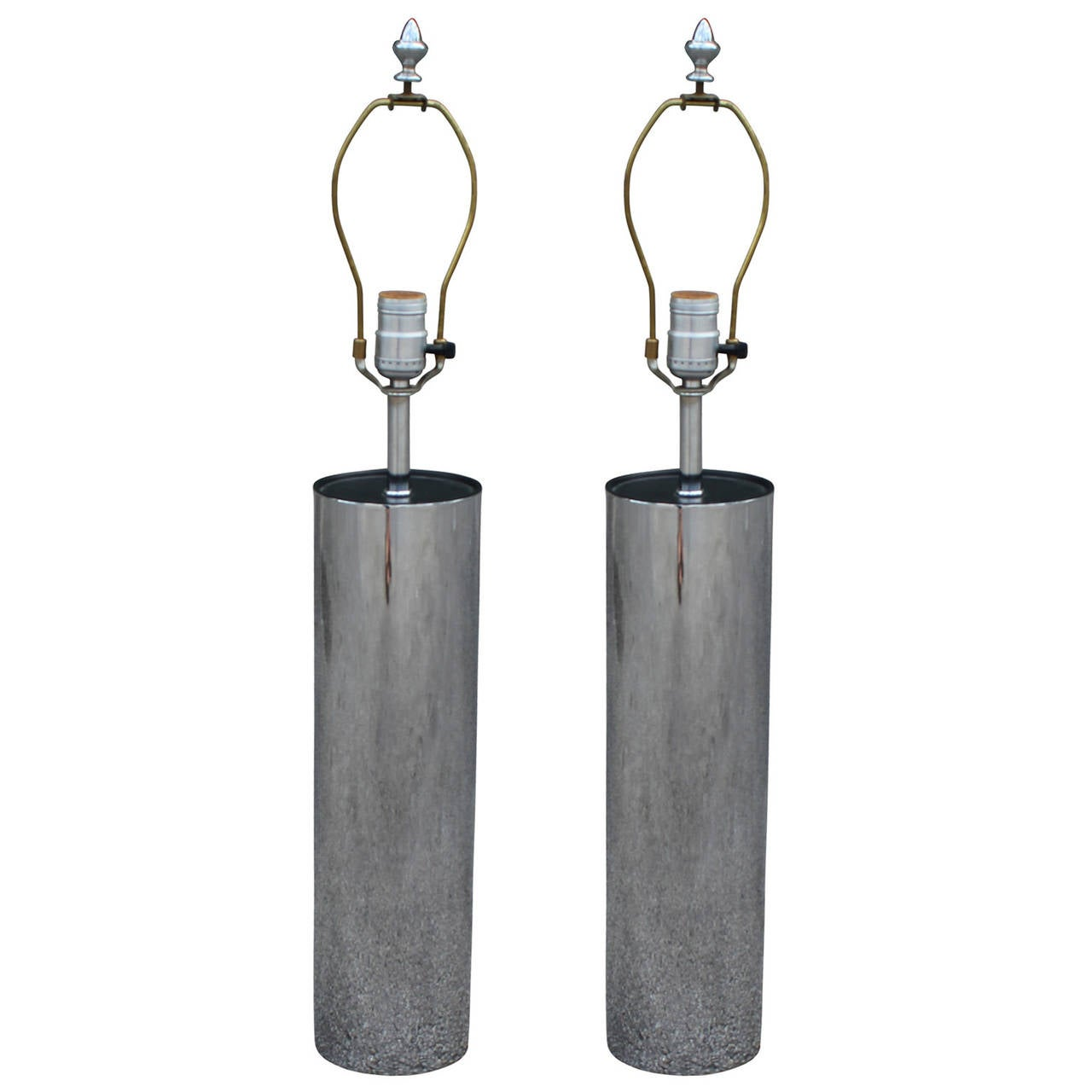 Incredible Pair Of Modern Chrome George Kovacs Cylindrical
