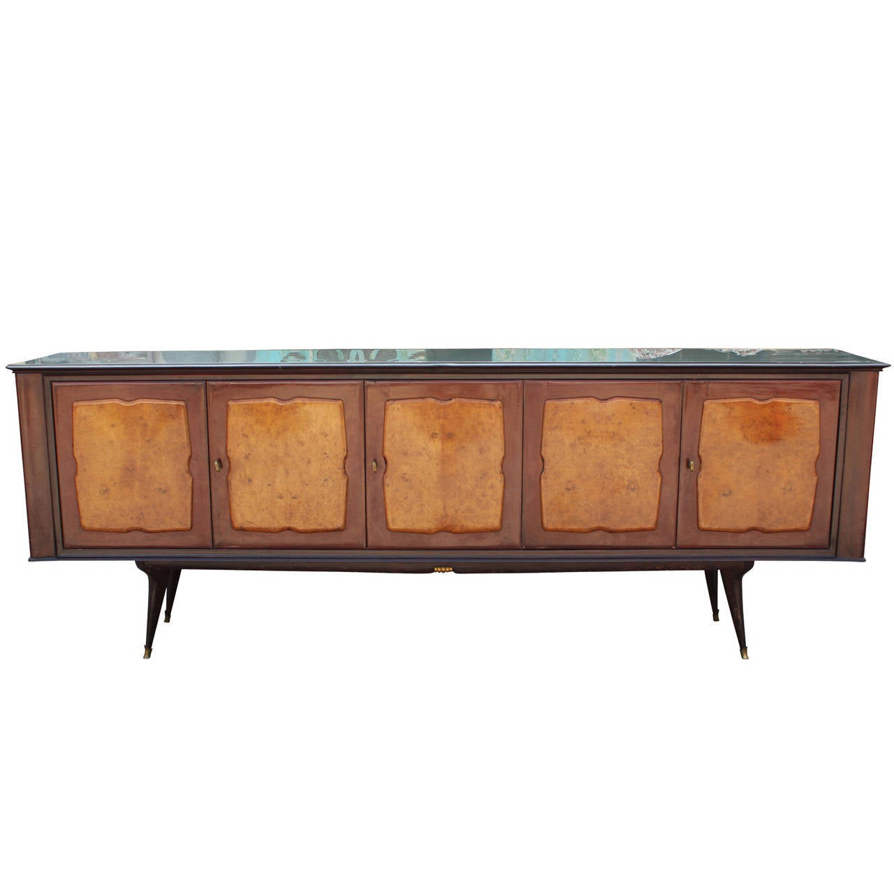 Mid-Century Modern Sculptural Burl Italian Sideboard with Glass Top
