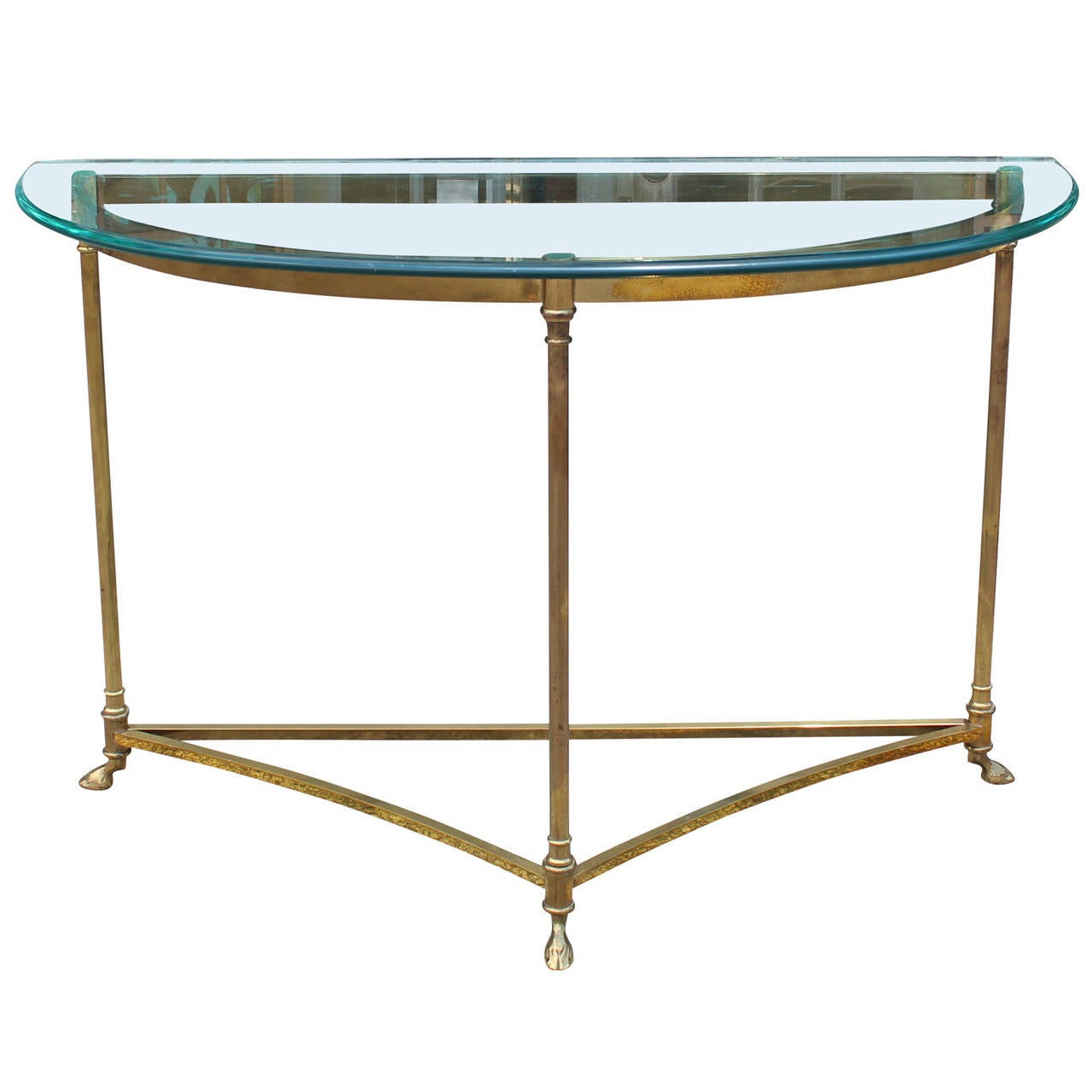 hollywood regency brass and glass demilune console table. Black Bedroom Furniture Sets. Home Design Ideas