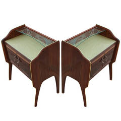 Stunning Pair of Italian Rosewood Nightstands with Gold Colored Glass