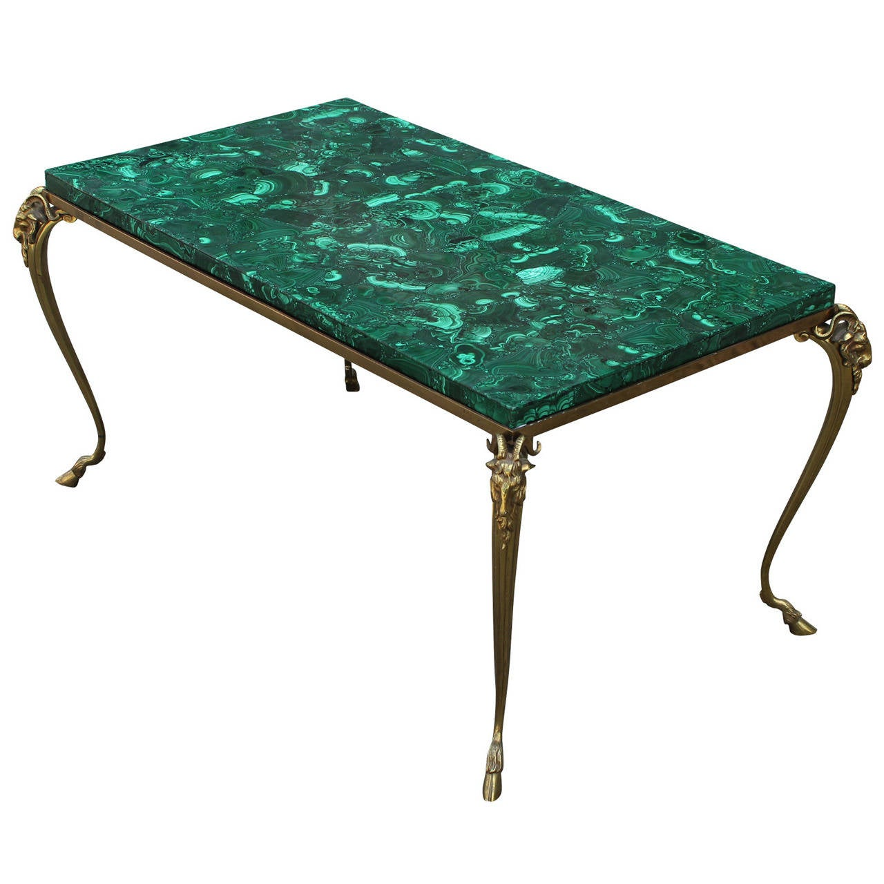 Exquisite french malachite brass rams head table at 1stdibs exquisite french malachite brass rams head table 1 geotapseo Images