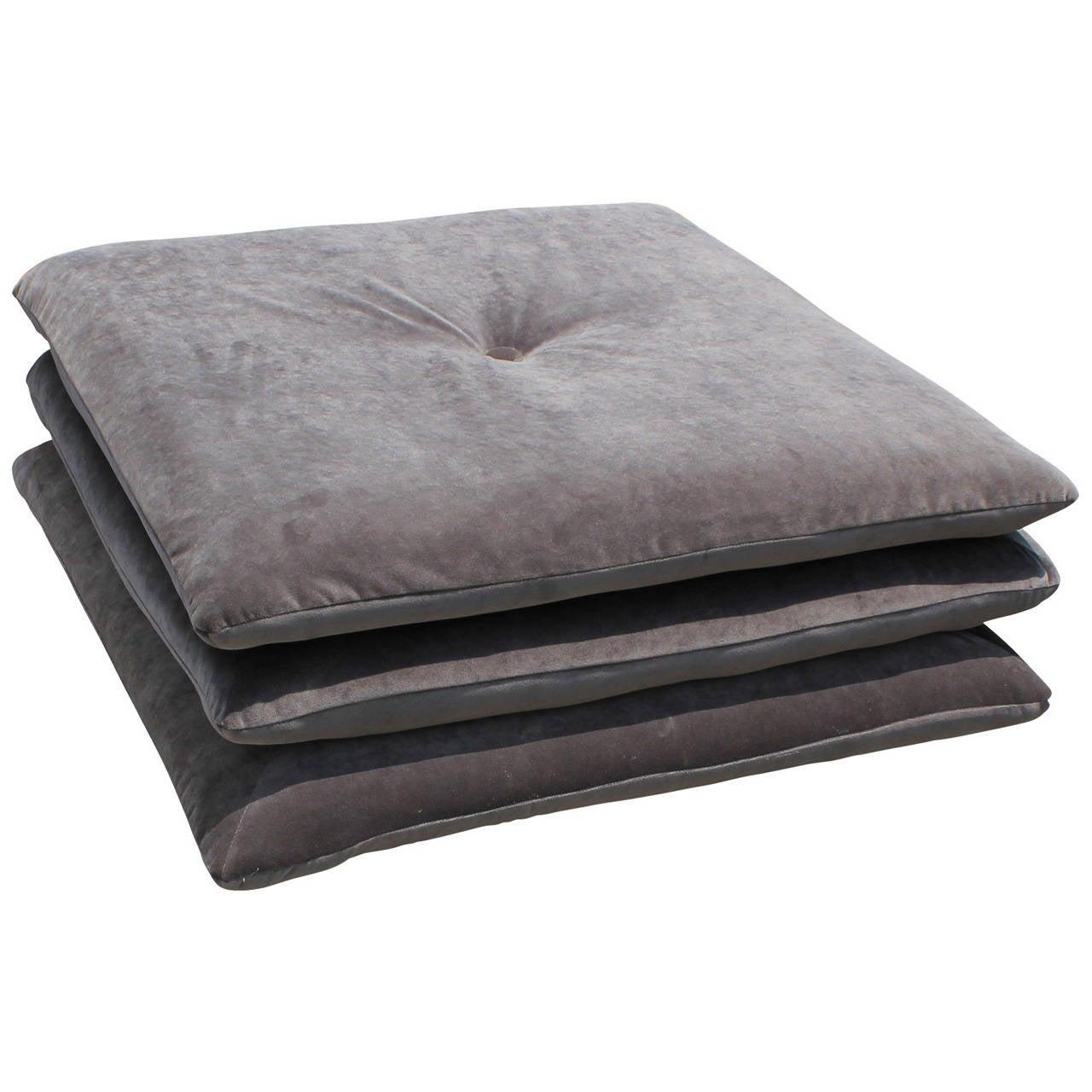 Plush Large Grey Velvet Ottoman Or Pouf At 1stdibs