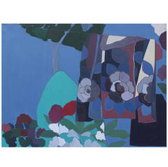 Lovely Large Blue Abstract of a Clothesline