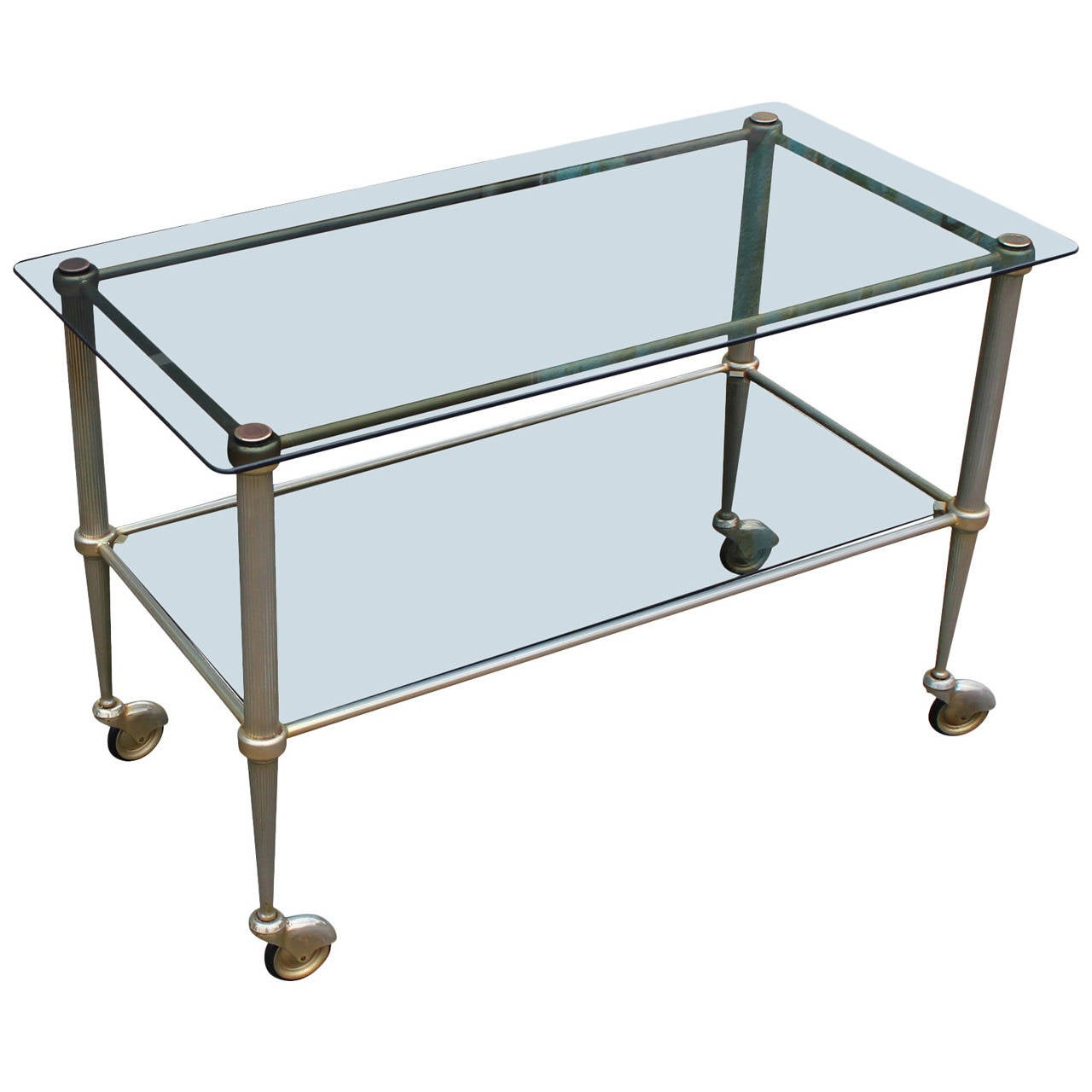 Hollywood Regency French Smoked Glass and Patinaed Brass Bar Cart