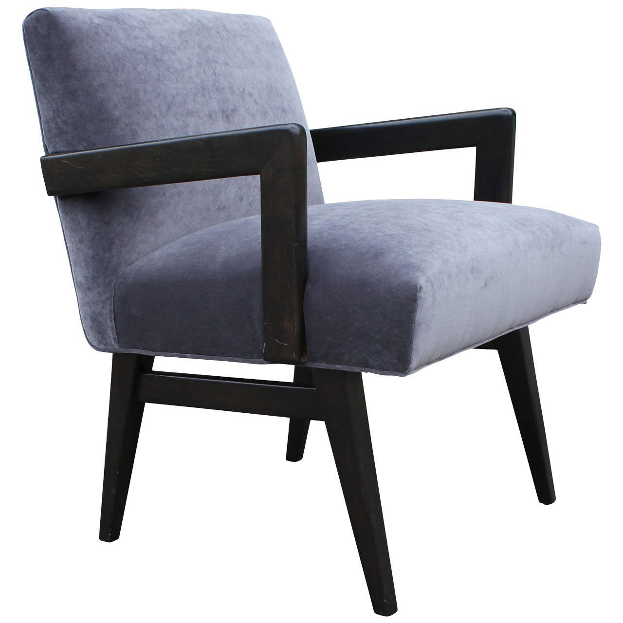 Mid century modern grey velvet armchair in the style of for Mid century modern armchairs