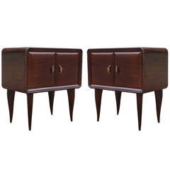 Elegant Pair of Hollywood Regency Italian Nightstands with Brass Hardware