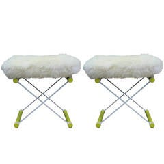 "Pair of Faux Bamboo Lacquered ""X"" Stools in Sheepskin"