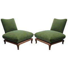 Pair of James Mont Style Green Mohair Slipper Chairs