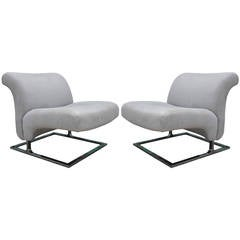 Elegant Chrome and Grey Suede Cantilevered Lounge Chairs Saporiti Style