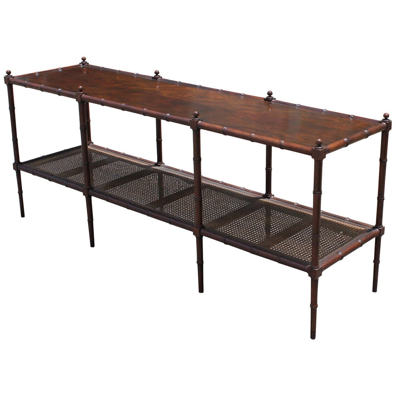 Faux Bamboo And Cane Console Table By Baker Furniture At
