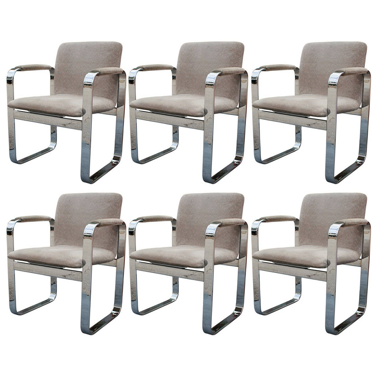 set of six eero aarino chrome and suede executive dining chairs set of six eero aarino chrome and suede executive dining chairs 1