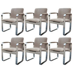 Set of Six Eero Aarino Chrome and Suede Executive Dining Chairs