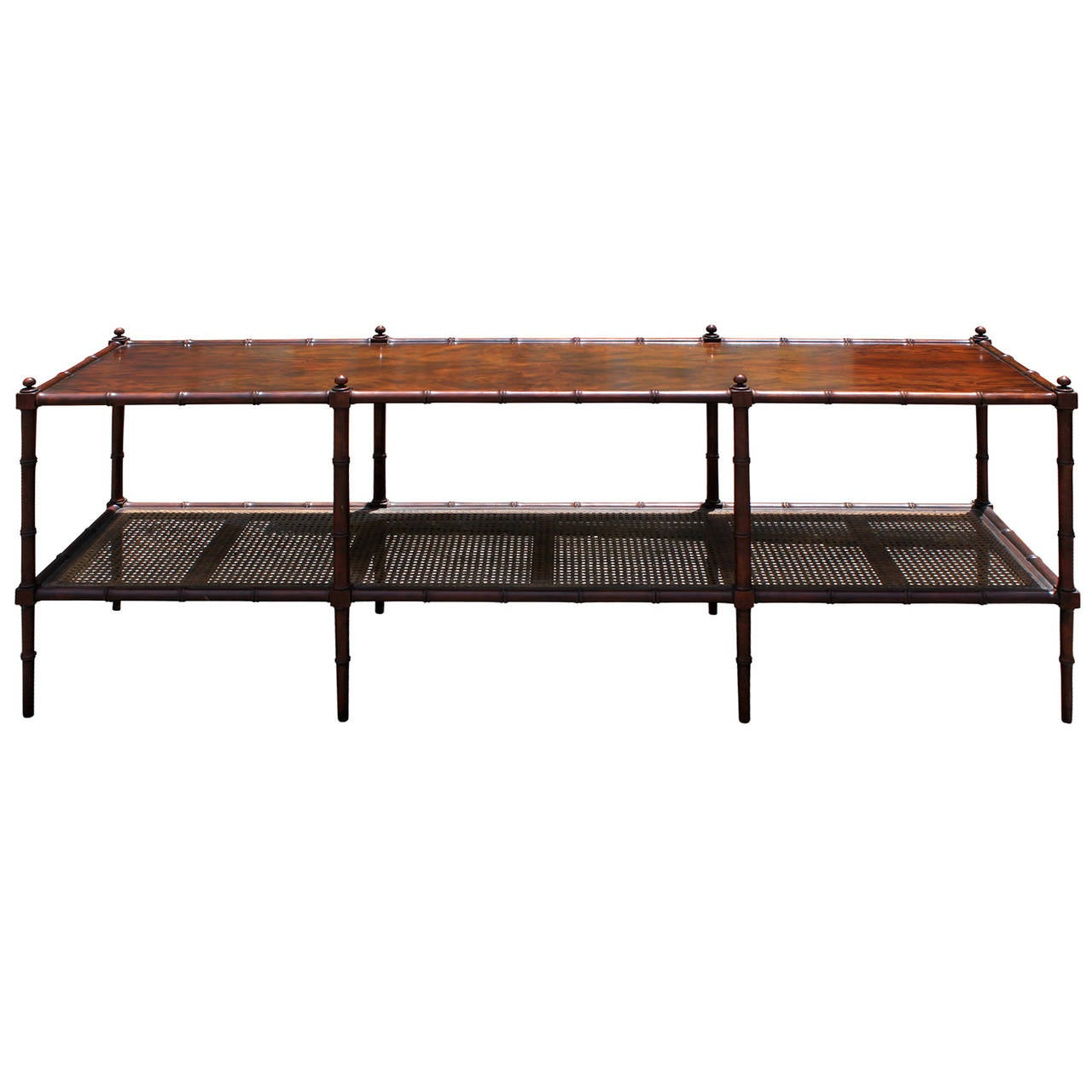 Superior Faux Bamboo And Cane Console Table By Baker Furniture 1