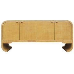 Karl Springer Style Grasscloth Sideboard with Scrolled Legs