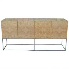 Milo Baughman Burl Olive and Chrome Floating Sideboard