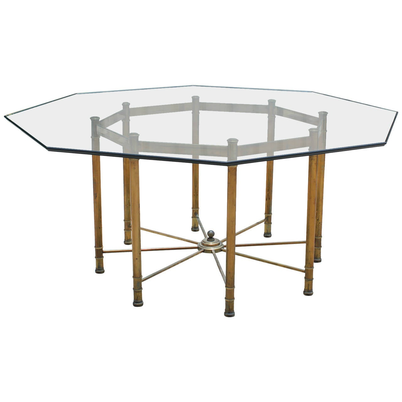Large Brass Octagon Dining Table By Mastercraft At 1stdibs