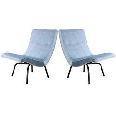 Striking Luxe Pair of Scoop Light Blue Velvet Lounge Chairs
