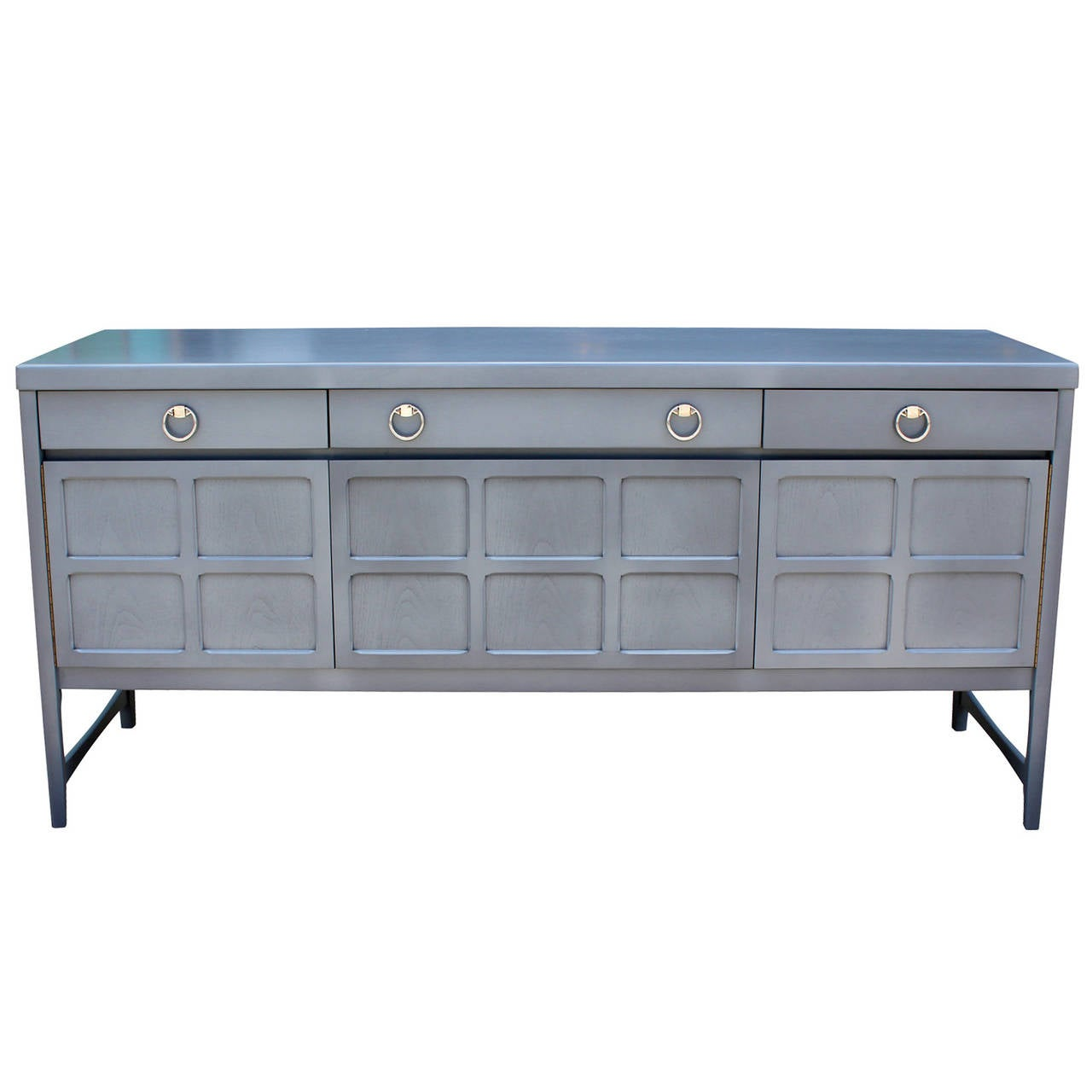 Light French Blue Grey Sideboard With Chrome Handles At