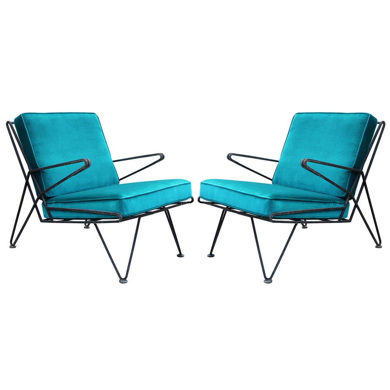 Phenomenal Pair of Teal Velvet Italian Style Mid-Century Modern Lounge Chairs