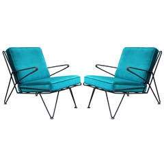 Phenomenal Pair of Teal Velvet Italian Style Mid-Century Modern Lounge Chairs
