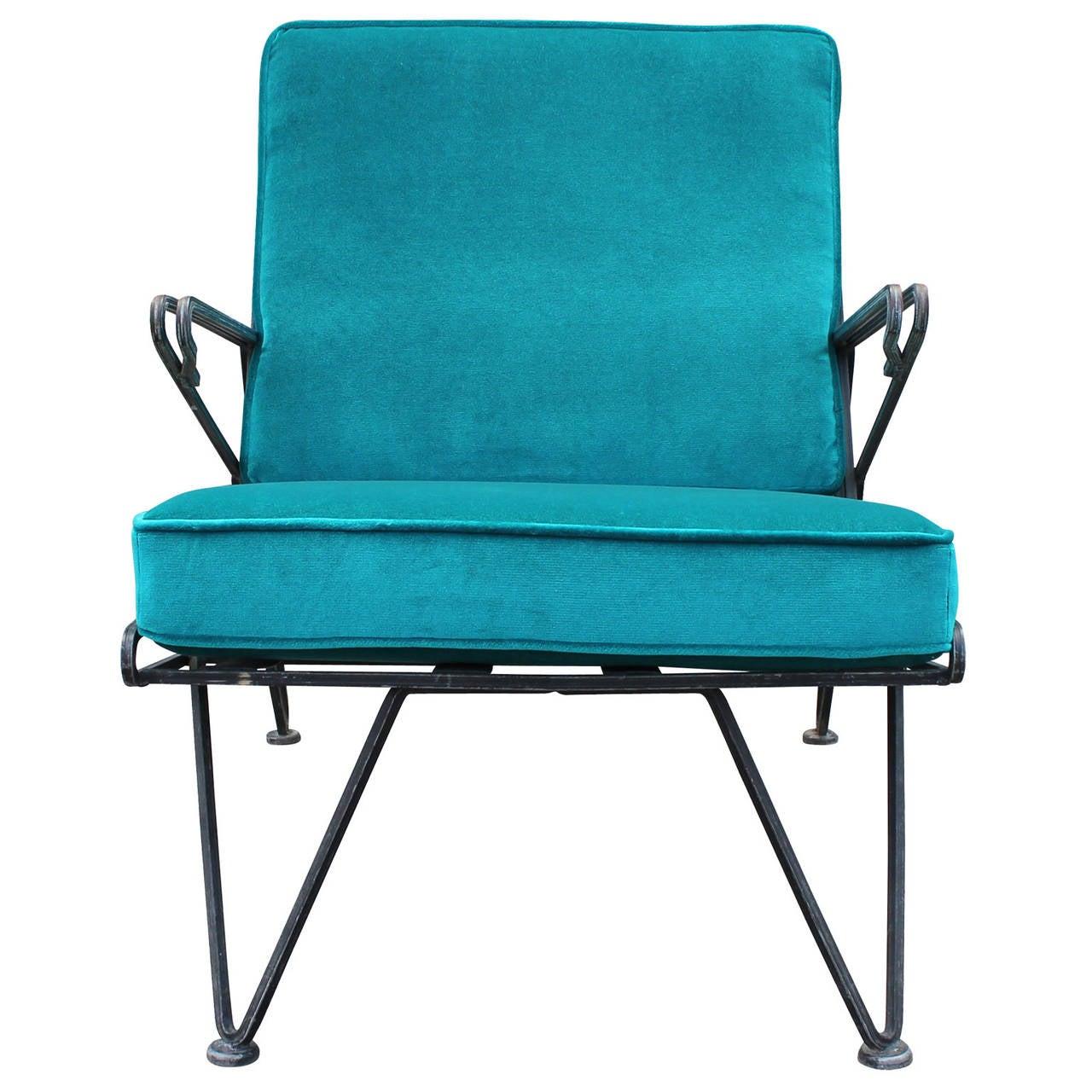 Phenomenal Pair of Teal Velvet Italian Style Mid Century Modern Lounge Chairs