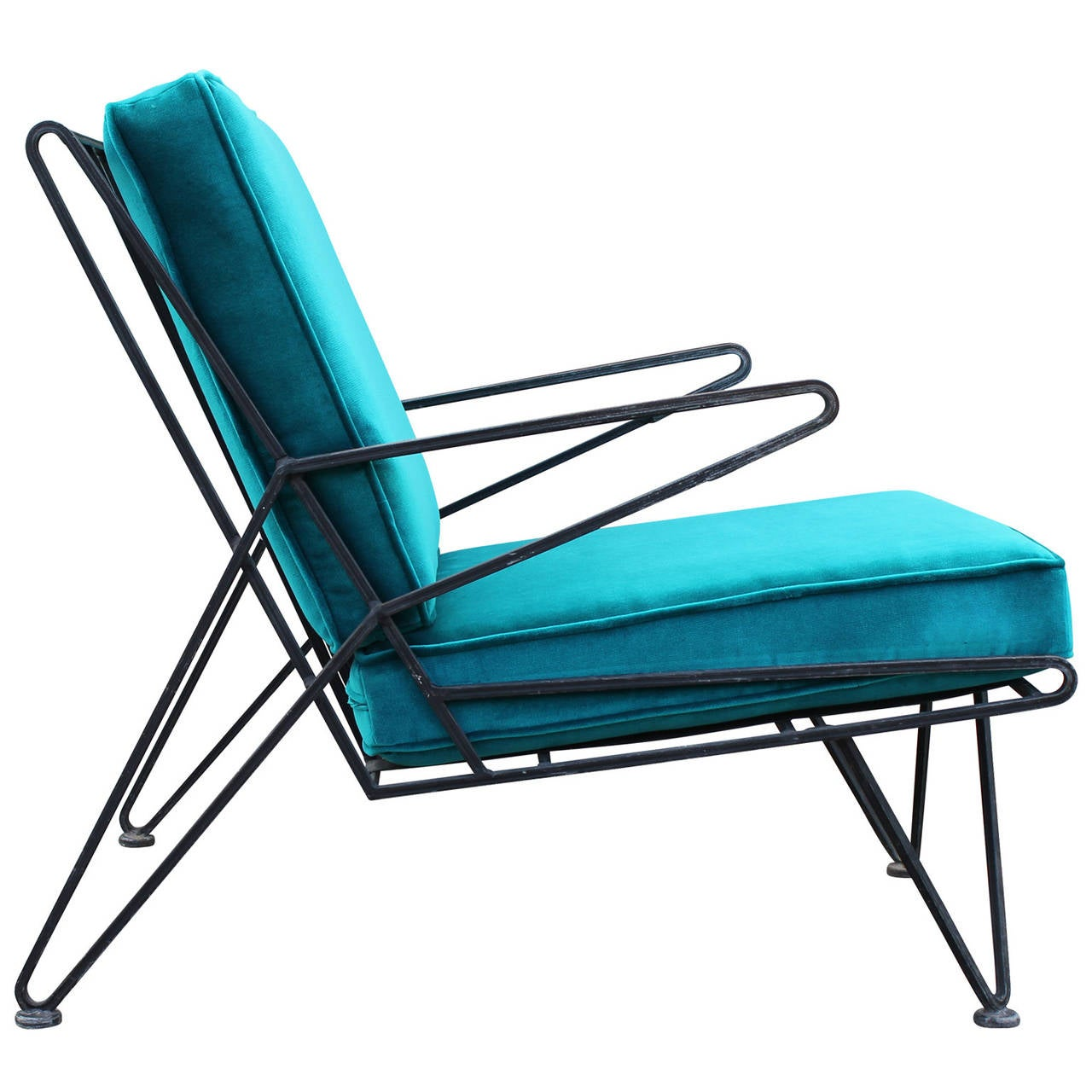 Phenomenal pair of teal velvet italian style mid century for Teal chairs for sale