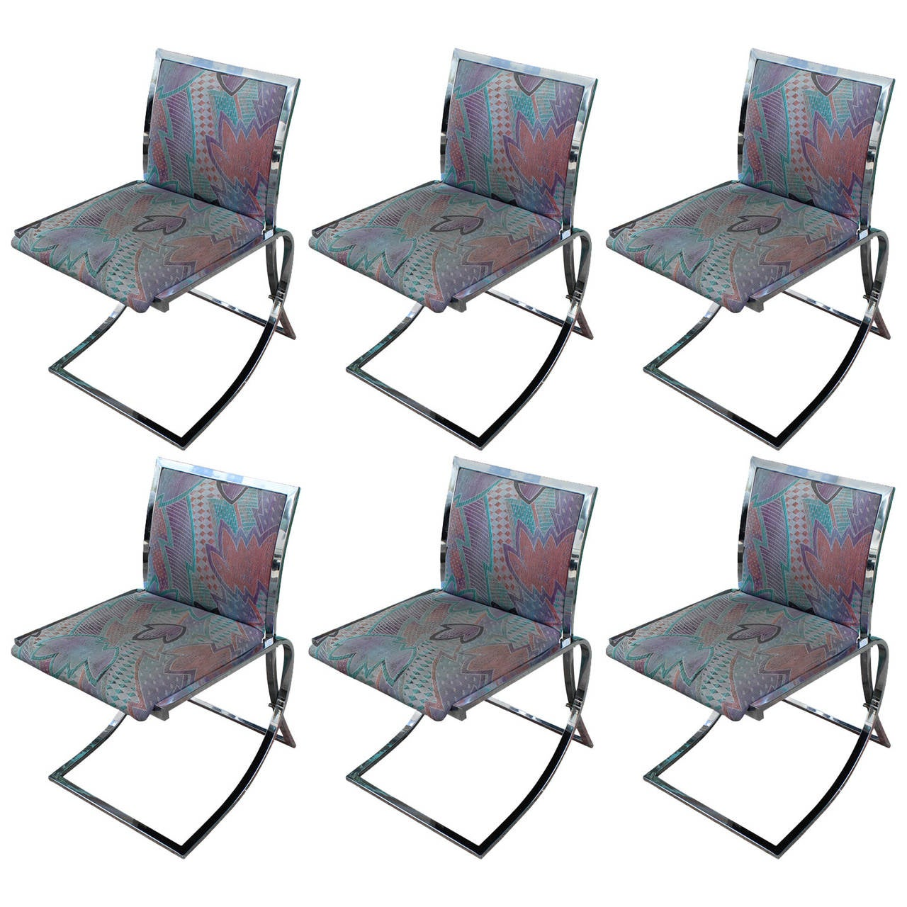 Incredible set of six mid century modern cantilevered for Modern chrome dining chairs