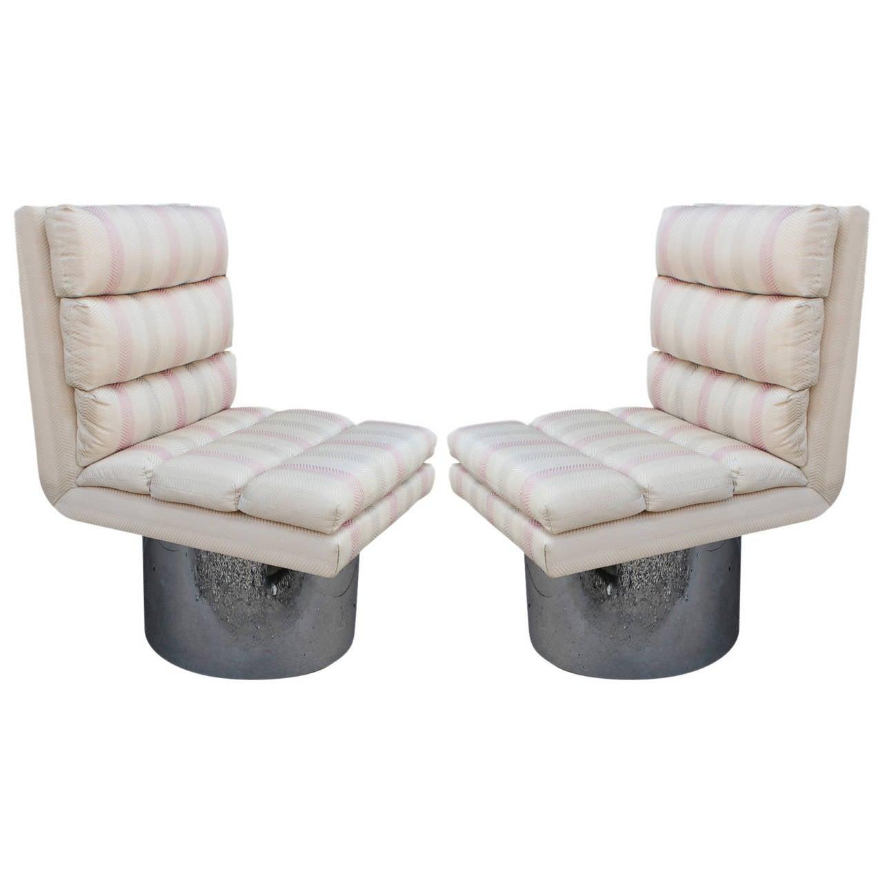 Amazing Modern Swivel Lounge Chairs on Chrome Barrel Bases
