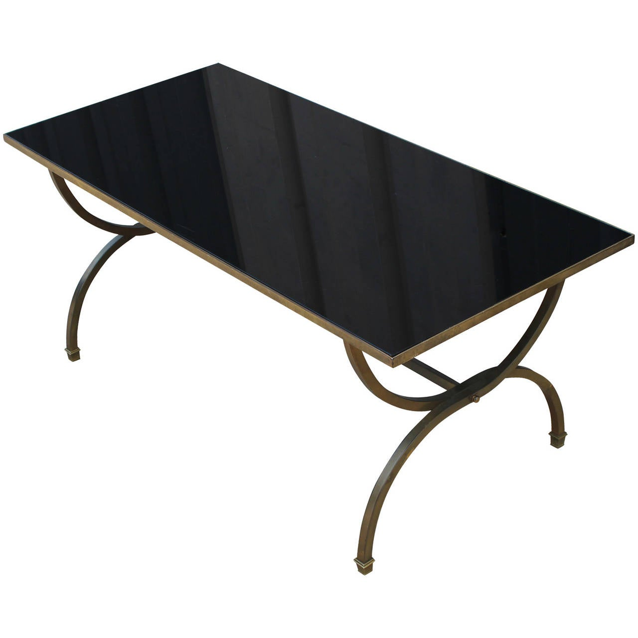 Hollywood Regency Style Black Glass And Brass Coffee Table 3