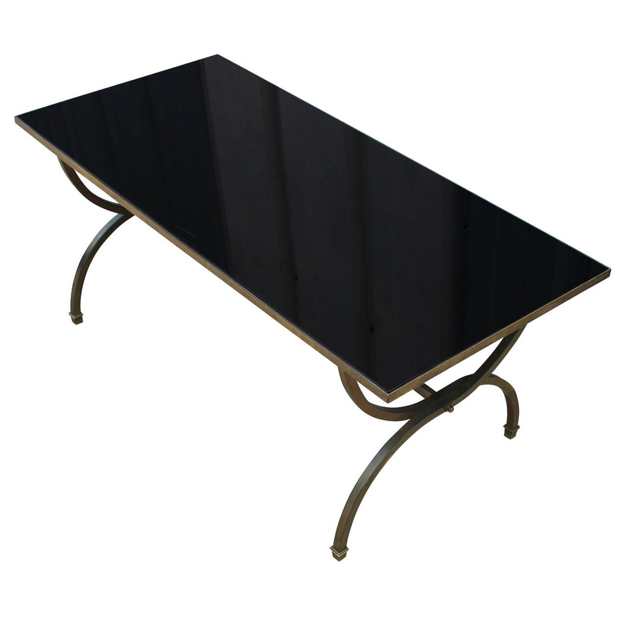 Hollywood regency style black glass and brass coffee table for Black glass coffee table