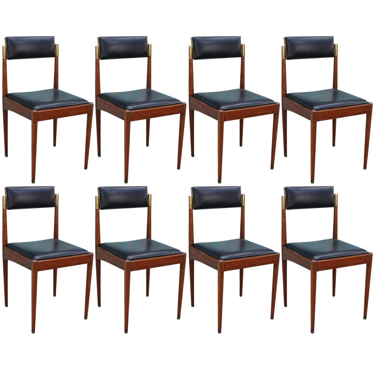 beautiful set of eight brass and walnut dining chairs at