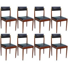 Beautiful Set of Eight Brass and Walnut Dining Chairs