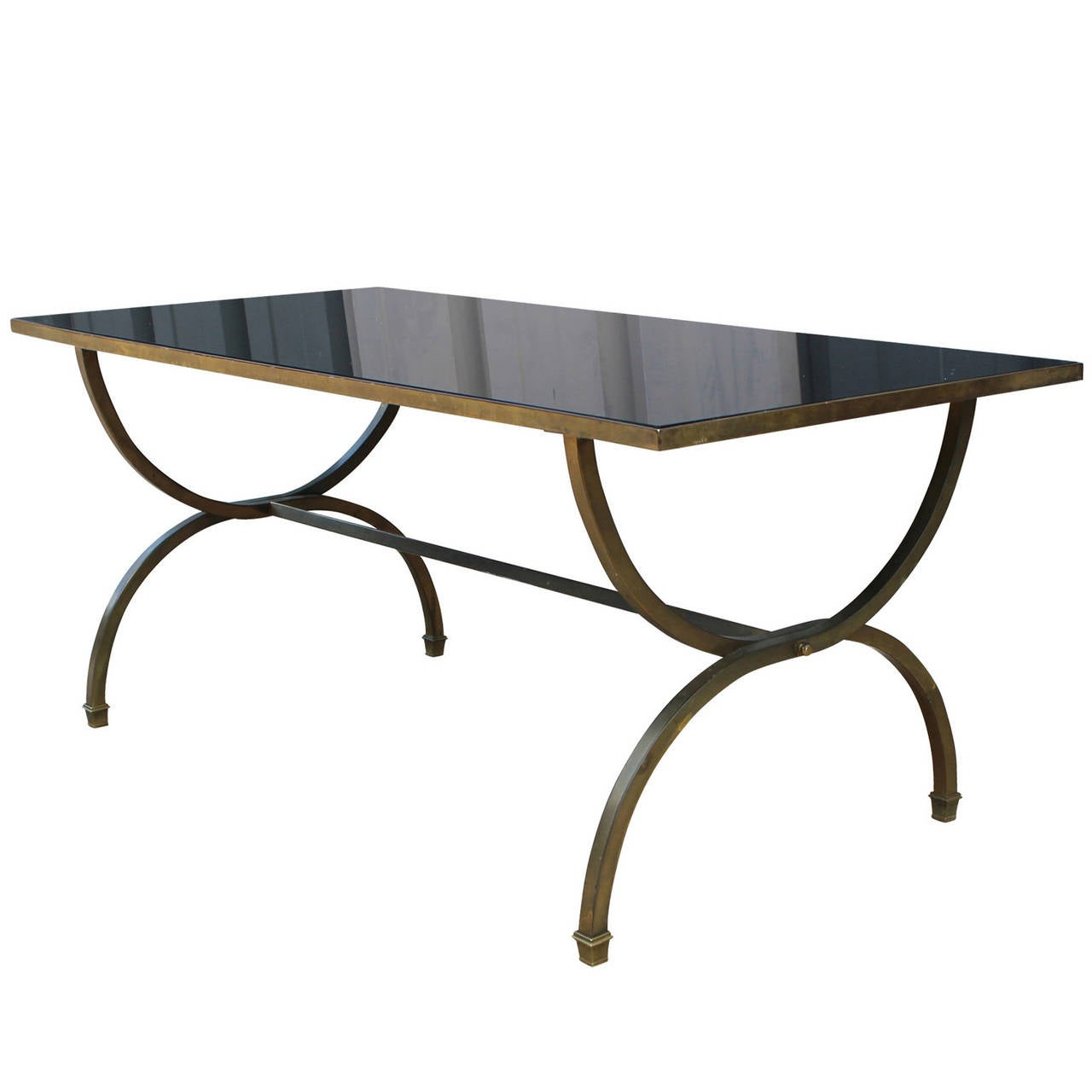 Hollywood Regency Style Black Glass and Brass Coffee Table