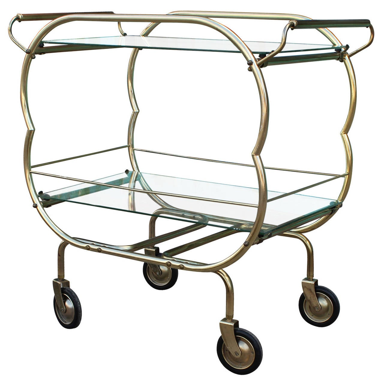 Brass and glass bar cart at 1stdibs