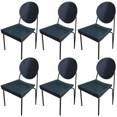 Bold Set of Six Italian Memphis Style Dining Chairs