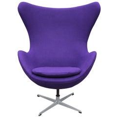 Modern Arne Jacobson Egg Chair in Royal Purple Danish Divina Wool