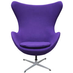 Modern Arne Jacobson Egg Chair in Royal Purple Danish Divina Wool