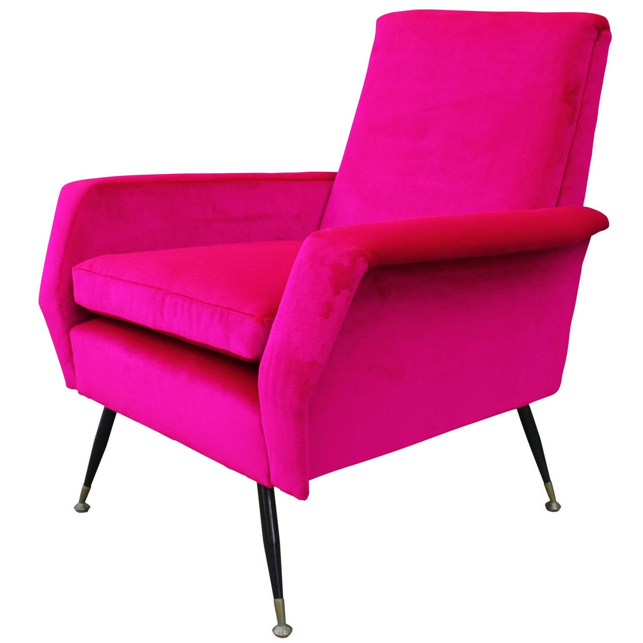 incredible bold pink velvet italian lounge chair at 1stdibs. Black Bedroom Furniture Sets. Home Design Ideas