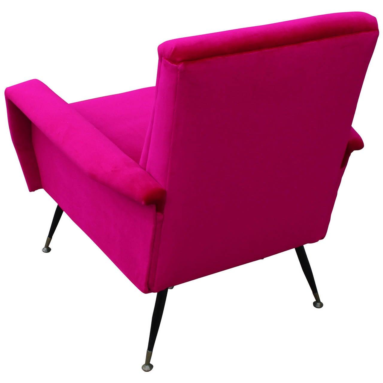 Incredible Bold Pink Velvet Italian Lounge Chair at 1stdibs