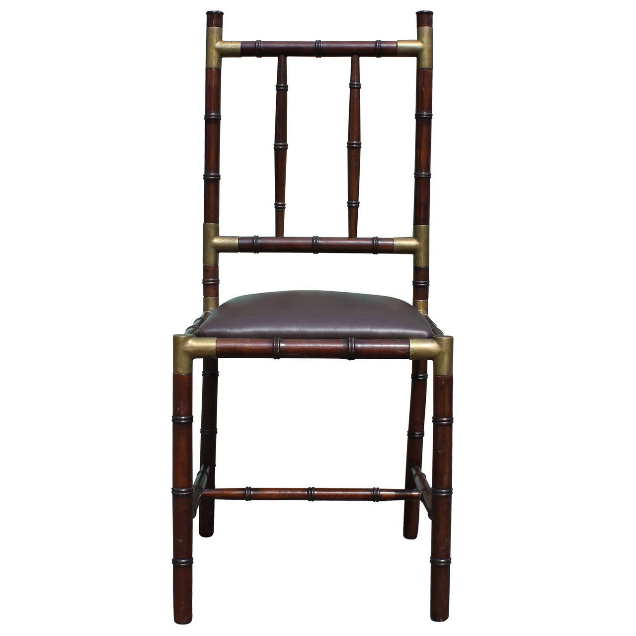 Modern Set Of Six Faux Bamboo Dining Chairs With Brass