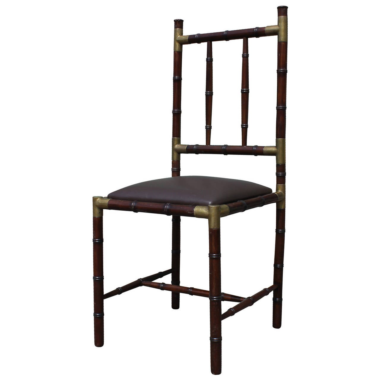 Campaign modern set of six faux bamboo dining chairs with brass accents for sale