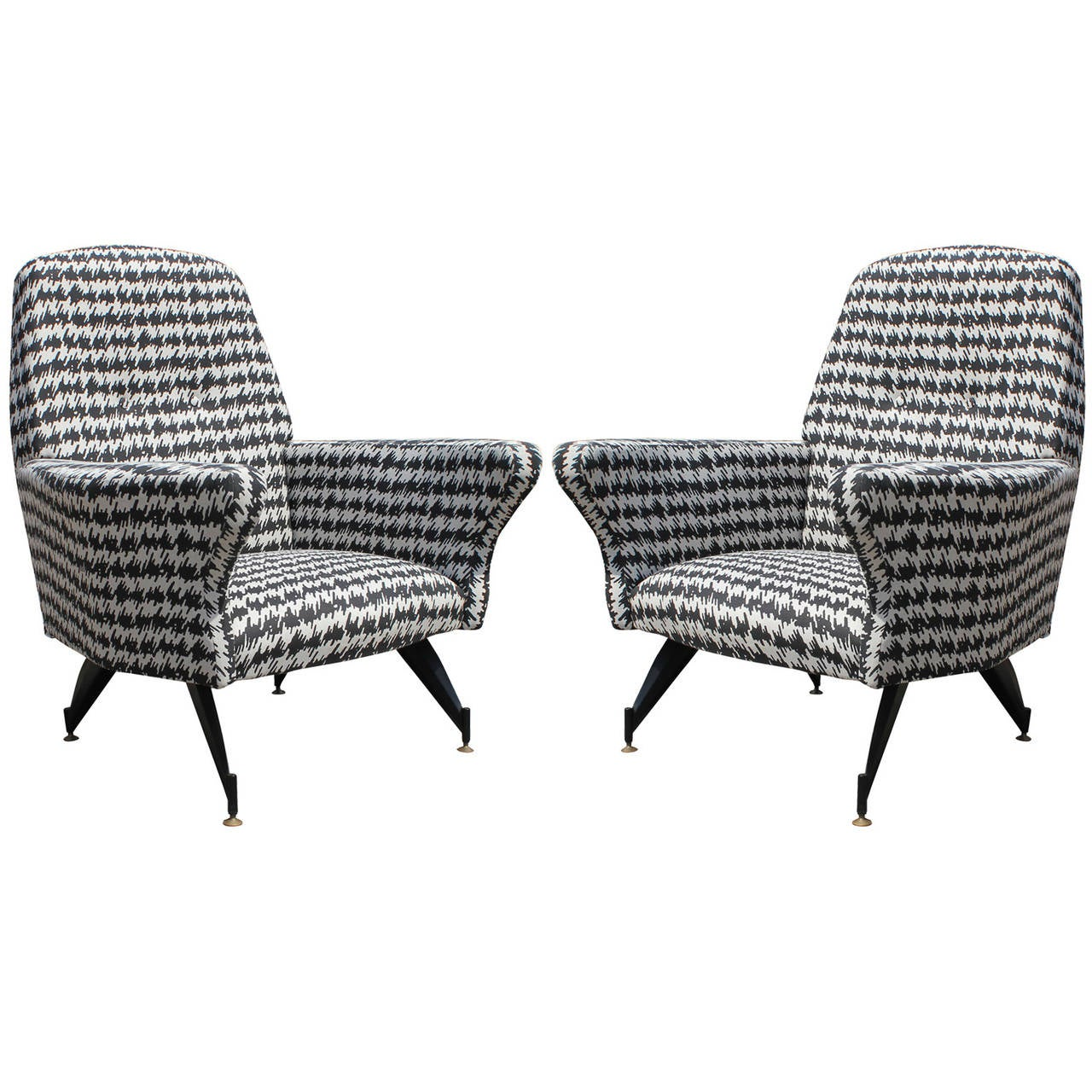 Modern Pair Of Small Scale Italian Lounge Chairs In Houndstooth For Sale