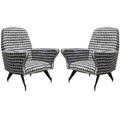 Modern Pair of Small-Scale Italian Lounge Chairs in Houndstooth