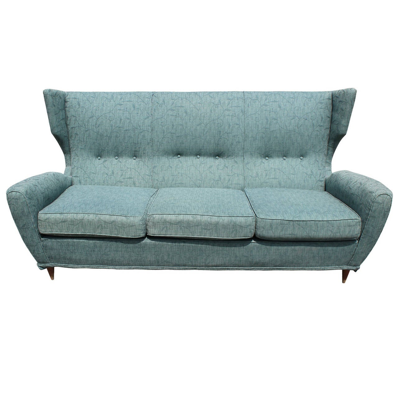 Sculptural Mid Century Modern Italian Wingback Sofa With Tapered Legs For Sale At 1stdibs