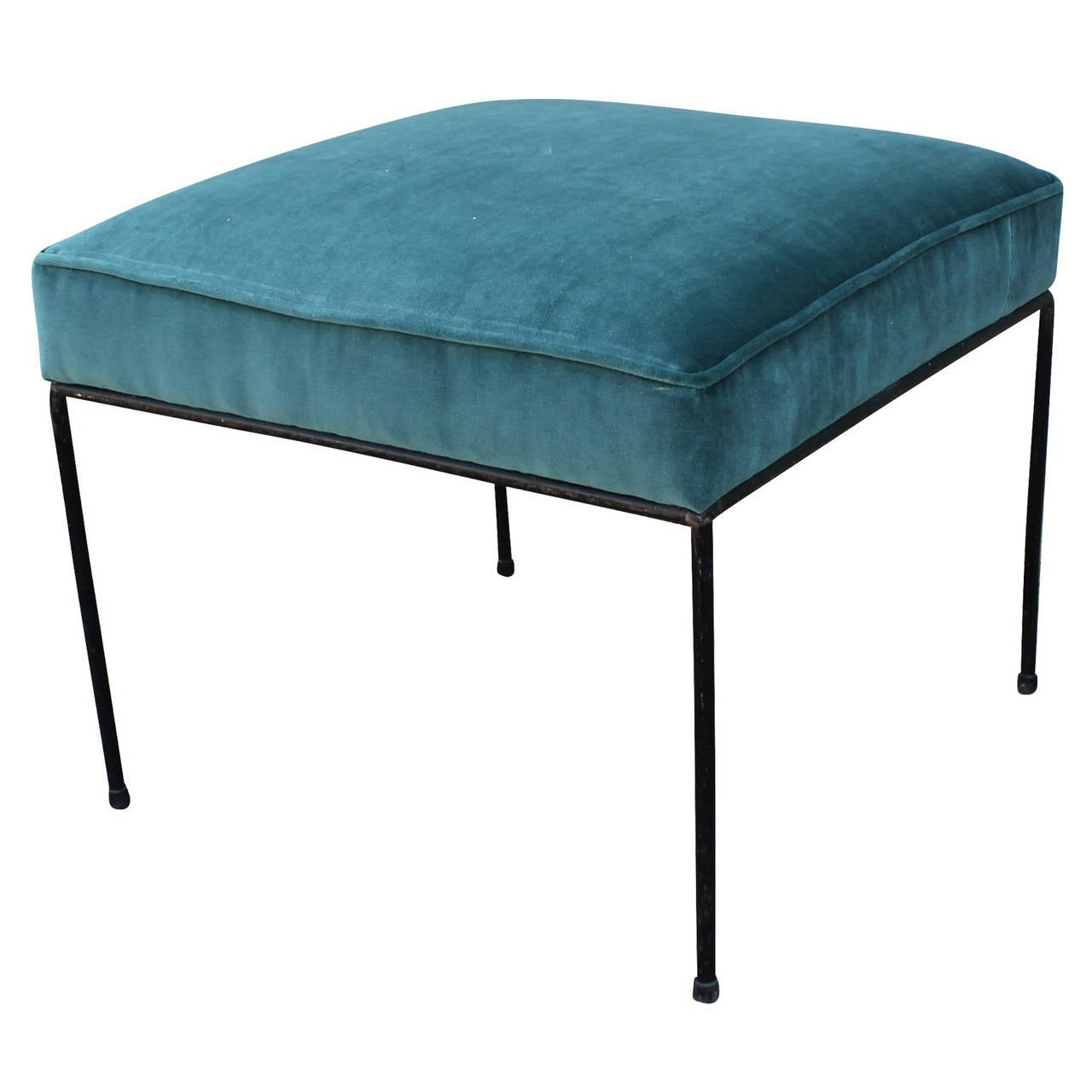 Pair of paul mccobb wrought iron stools in teal blue velvet at 1stdibs - Teal blue bar stools ...