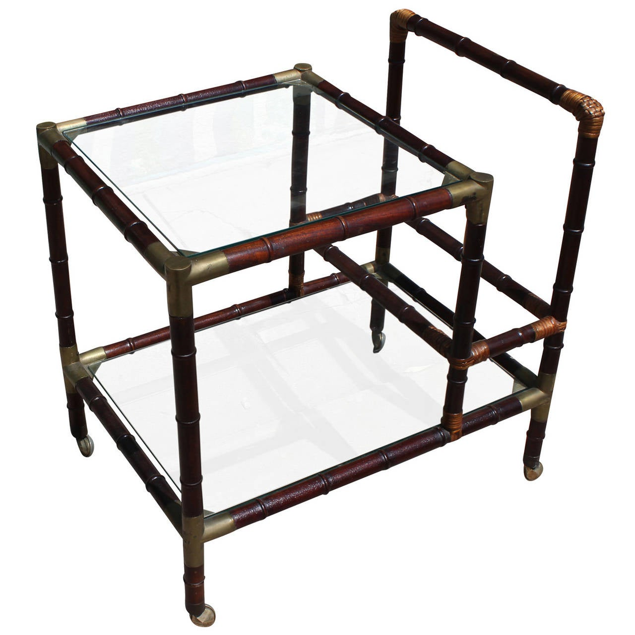 Hollywood Regency Faux Bamboo Campaign Style Brass Bar Cart