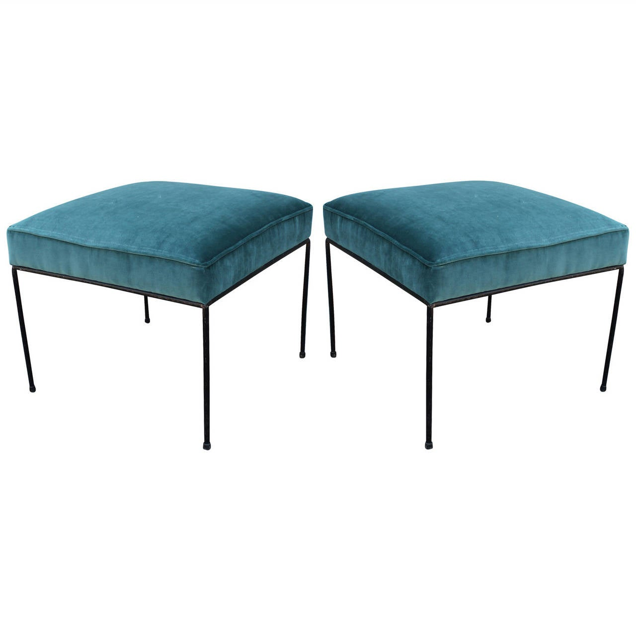 Pair Of Paul Mccobb Wrought Iron Stools In Teal Blue