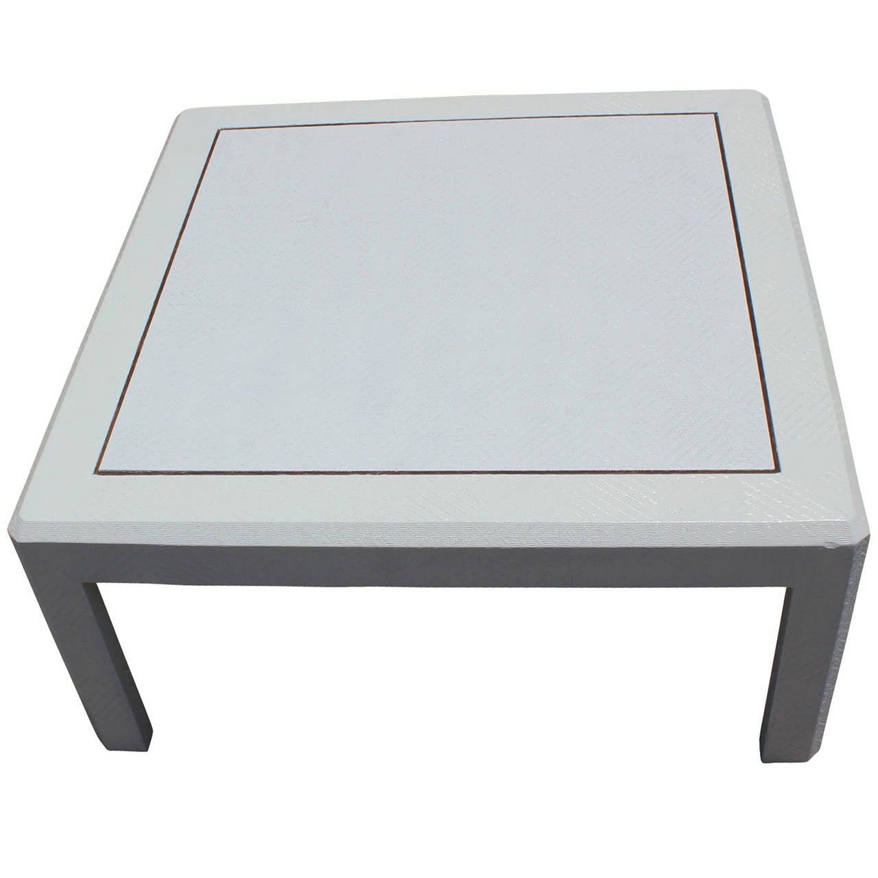 Modern harrison van horn style square white lacquered for Raffia coffee table
